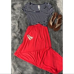 Navy/White stripped with coral maxi dress!